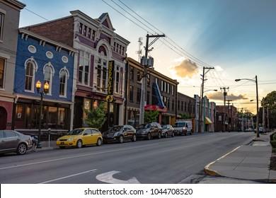 Lexington, Kentucky, USA - June 19, 2017: A view of the historic buildings down Short Street in Lexington during golden hour.