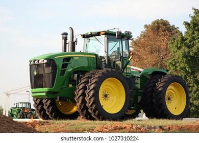 LEXINGTON, KENTUCKY-AUGUST 31, 2010:  Large John Deere tractor.