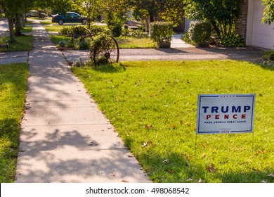 Lexington, KY, USA - October 6, 2016: Trump Pence yard sign at residential street for Presidential candidate Donald Trump 2016.