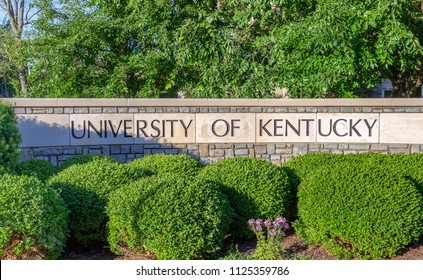 LEXINGTON, KY/USA - JUNE 3, 2018: Entrance sign and foliage background to the campus of the University of Kentucky.