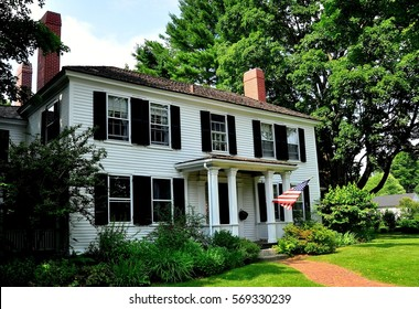 Lexington, Massachusetts - July 10, 2013:  18th century colonial home opposite the Village Green where the first shots of the American Revolution were fired on 19 April 1775 *
