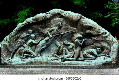 Lexington, Massachusetts - July 10, 2013:  Commemorative Minutemen Memorial depicting the Battle of Lexington on 19 April 1775 which began the American Revolutionary War