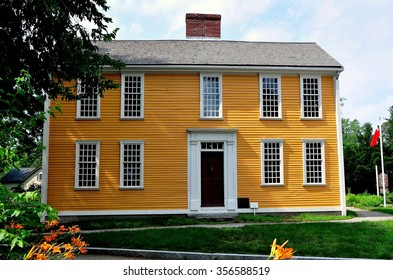 Lexington, Massachusetts -July 10, 2014:  Colonial-era 18th century wood frame colonial home of patriot and Declaration of Independence signer John Hancock