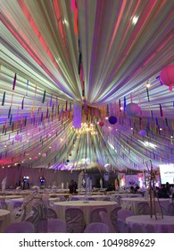 Leyte, Philippines; March 12, 2018: Colorful party decorations for a social event held at the Leyte Academic Center Gymnasium in the town of Palo.