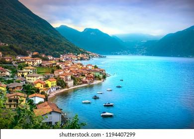 Lezzeno in Como lake district. Italian traditional lake village. Italy, Europe.