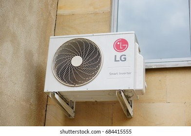 LG airco system attached on a wall on July 2017 in Poznan, Poland
