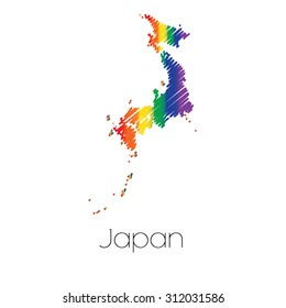 An LGBT Coloured Scribbled Shape of the Country of Japan