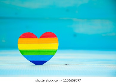 LGBT concept. heart rainbow colors on blue background. LGBT equal rights movement and gender equality concept. Copy Space