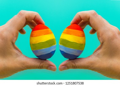 LGBT concept. two colored eggs in the hands