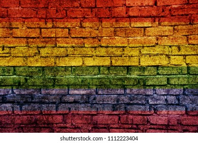 LGBT flag bricks wall