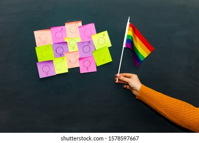 LGBT flag. multicolored stickers with symbols. Concept. Boy. Transgender. Girl.