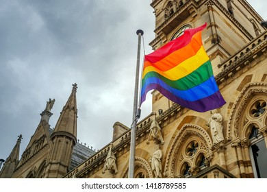 LGBT flag over Northampton Guildhall building on Pride Festival Weekend in UK