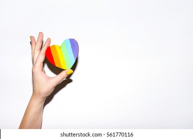 Lgbt flag rainbow heart shape on white
