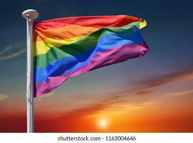 LGBT Gay Pride Rainbow Flag Being Waved At Pride