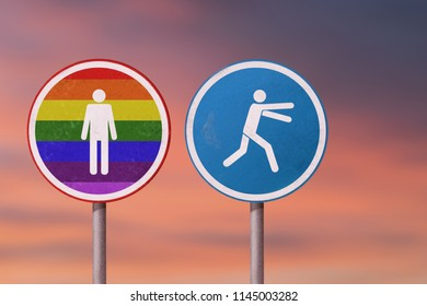 LGBT, homosexual discrimination, homophobia - man runs away from the gay man. Road signs.