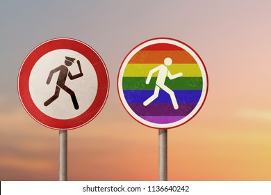 LGBT, homosexual discrimination, homophobia - policeman catches a gay man. Road signs.