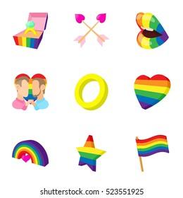 LGBT icons set. Cartoon illustration of 9 LGBT  icons for web