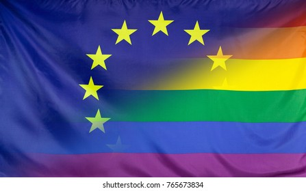 LGBT movement concept with fabric rainbow flag merged with real textile flag of th eEuropean Union