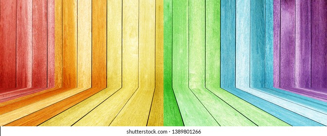 LGBT pattern wood texture table perspective . Vintage variety of colors LGBT tone on timber texture background .