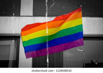 LGBT Rainbow flag isolated on black and white background fine art dust effect, shallow depth of field