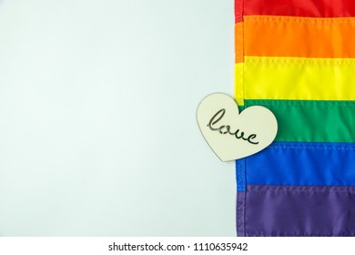 LGBT rainbow with wooden heart