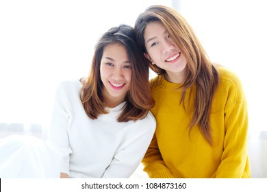 LGBT, Young cute asian women lesbian couple happy moment, homosexual, lesbian couple lifestyle