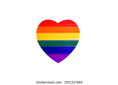 LGBTQ color paint on Heart paper shape , LGBTQ pride flag or Rainbow pride flag isolated on white background include of Lesbian, gay, bisexual, and transgender couple Love concept - valentine element