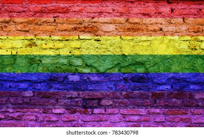 LGTB flag on brick wall texture