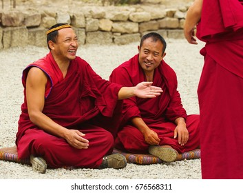 Lhasa, China - May 04, 2012: Buddhist monks at debates in Sera monastery, Tibet. Debating is part of the monastery educational program to become a higher lama.