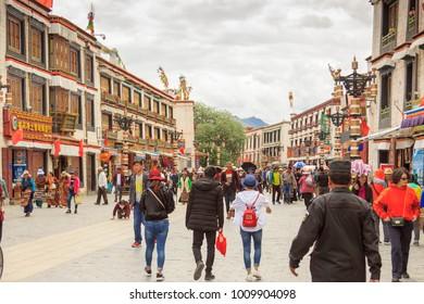 Lhasa, Tibet / China - 06 19 2017: Streetlife of Tibetans in Lhasa