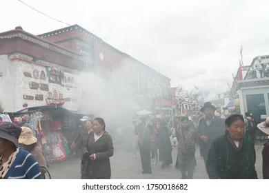 Lhasa, Tibet / China - August 20, 2012: the Barkhor street scene of Lhasa city, Tibet Autonomous Region, China