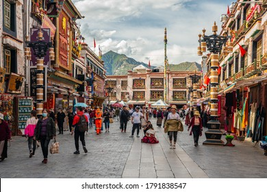 Lhasa,Tibet/China-July,2020: The tourist and pilgrims on Barkhor Street, the center of Lhasa.