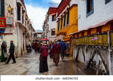 LHASA,TIBET/CHINA-MAY 11: Barker Street scenery on May 11,2017 in Lhasa, Tibet, China.