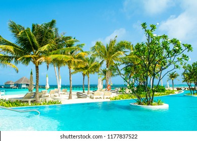 Lhaviyani Atoll, Maldives - 13 July 2018: Pool area on the shores of the Indian Ocean with sunbeds and umbrellas in the shade of the palm trees