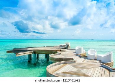 Lhaviyani, Maldives - 25 July 2017: Chill lounge zone over water of Indian Ocean, Maldives island