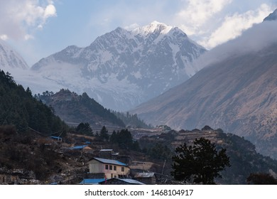 Lho village in Manaslu circuit trek, Himalayas mountain range, Nepal, Asia