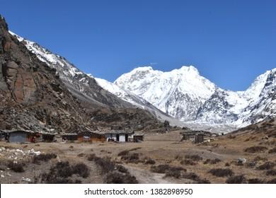 Lhonak village, Kanchenjunga trek, Himalaya, Nepal.