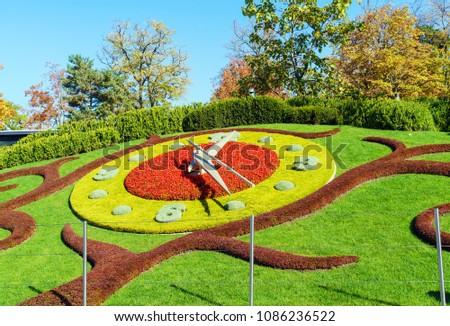 Lhorloge Fleurie Flower Clock Jardin Anglais Stock Photo Edit Now
