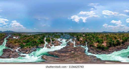 Li Phi waterfall in Laos - Tat Somphamit, don khone, si phan don on four thousand islands in Laos. Landscape of nature in south east asia during summer. ( panorama 360 or 360 panorama )