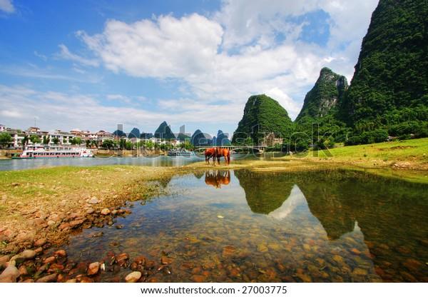 Li river karst mountain landscape in Yangshuo, China
