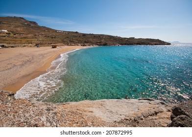 Lia beach in Mykonos city