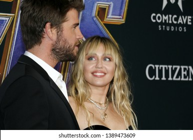 Liam Hemsworth and Miley Cyrus at the World premiere of 'Avengers: Endgame' held at the LA Convention Center in Los Angeles, USA on April 22, 2019.