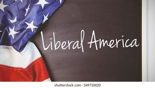 liberal america against american flag on chalkboard
