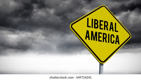 liberal america against stormy sky over road