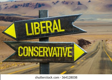 Liberal - Conservative signpost in a desert road on background