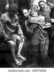 Liberated prisoners of Wobbelin Concentration Camp taken to a hospital for medical attention. May 4, 1945, Germany, World War 2.