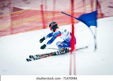 LIBEREC, CZECH REPUBLIC - FEBRUARY 18: Jakob-Helgi Bjarnason during team parallel giant slalom competition of European Youth Olympic Festival 2011, February 18, 2011 in Liberec, Czech Republic