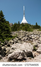 LIBEREC, CZECH REPUBLIC - JUNE 01, 2019 - Jested - unique architectural building. Hotel and TV transmitter on the top of Jested Mountain