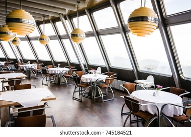 LIBEREC - SEPTEMBER 30: Restaurant tables inside Jested - conic transmitter which servers also as hotel and restaurant on September 30, 2016 in Liberec, Czechia.