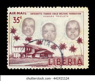 LIBERIA - CIRCA 1957: stamp printed by Liberia, shows the kamara triplet, with inscription antoinette tubman child welfare foundation, circa 1957